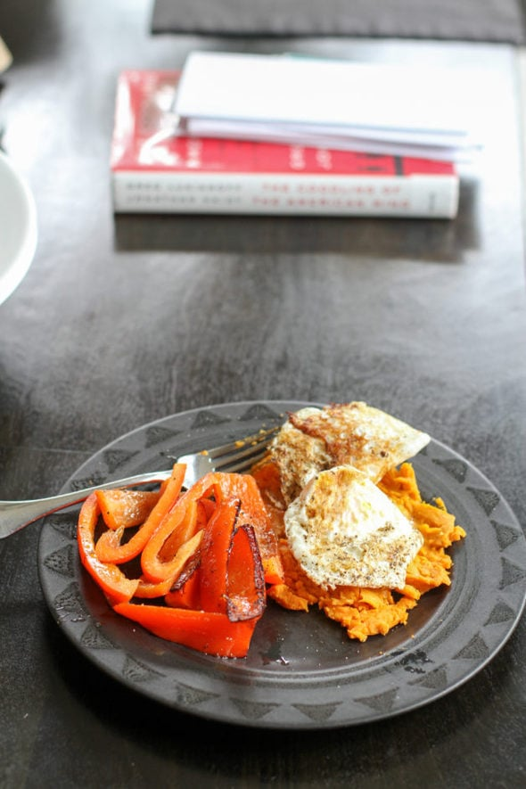 lunch | peppers, eggs, sweet potatoes.
