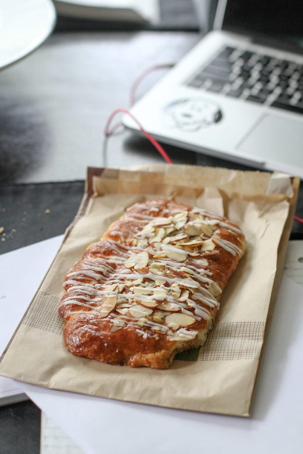 An almond bear claw from Panera Bread.