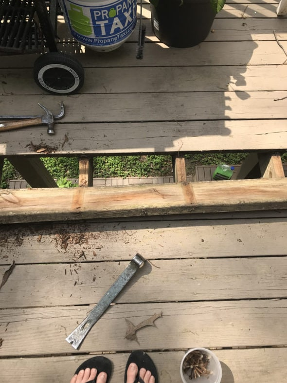 A brown deck with a single rotten board removed.