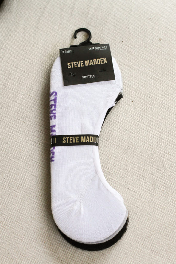 Three pairs of invisible socks by Steve Madden.