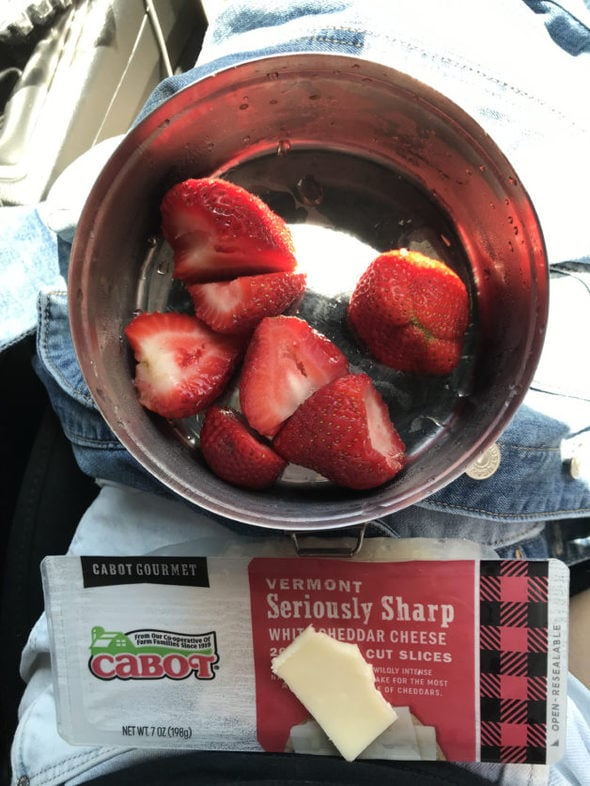 Strawberries and sliced Cabot cheese.