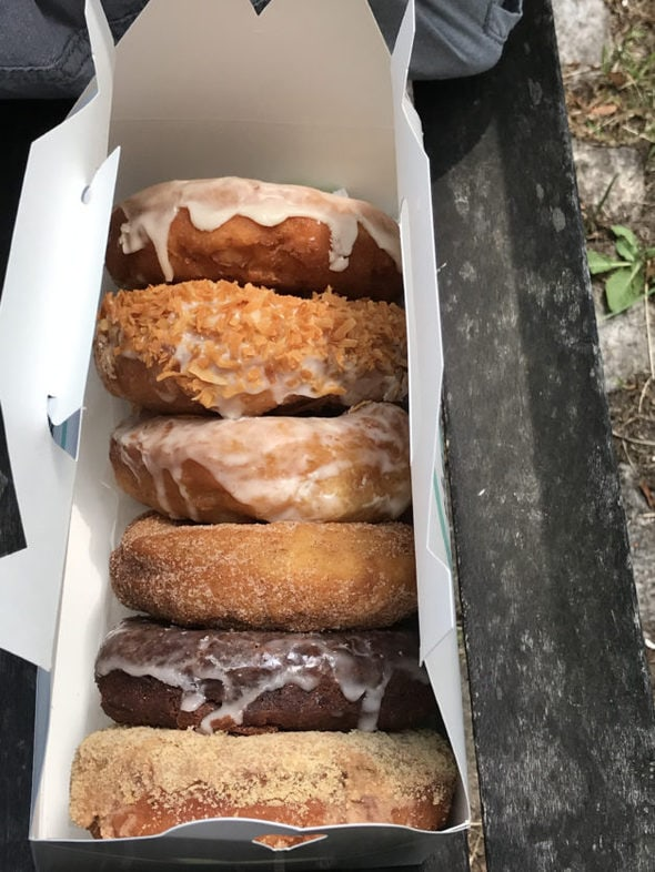 A box of doughnuts from Portland, Maine.
