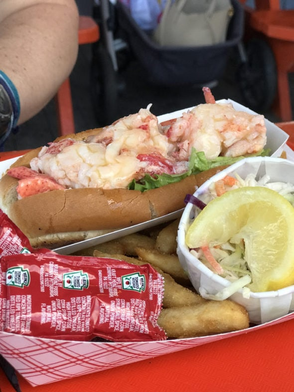 A lobster roll and fries with ketchup.