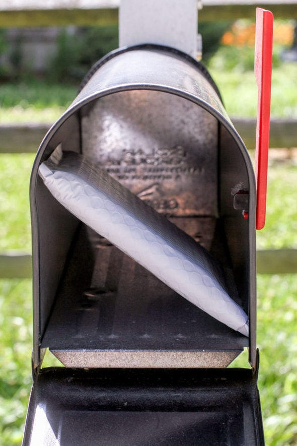 A white package in a mailbox with the flag up.