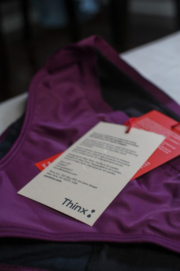 A pair of underwear with the tags attached.