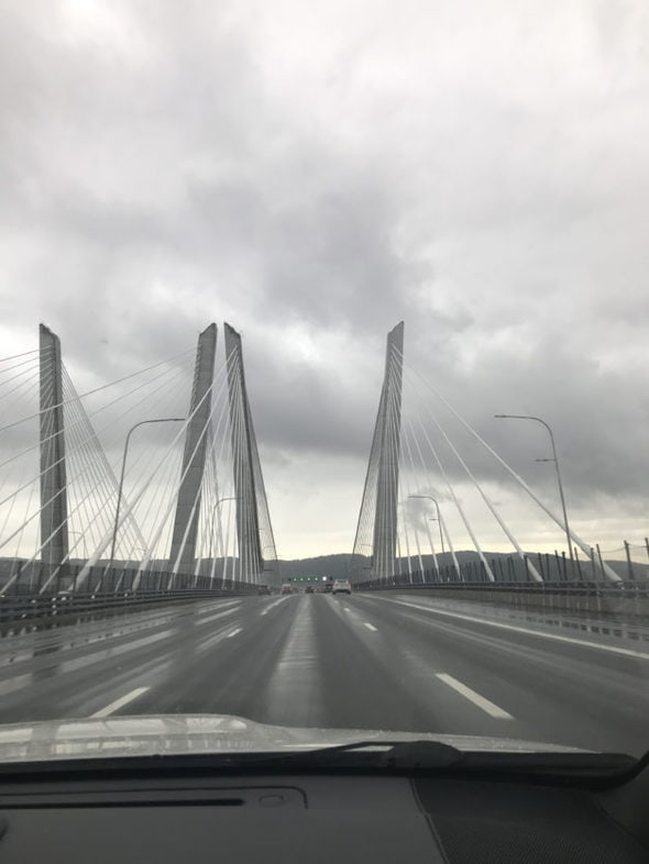 The view from the Mario Cuomo bridge in New York City.