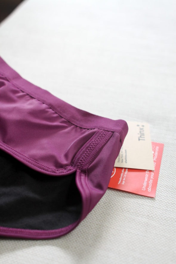 A close-up view of a pair of purple Thinx underwear.
