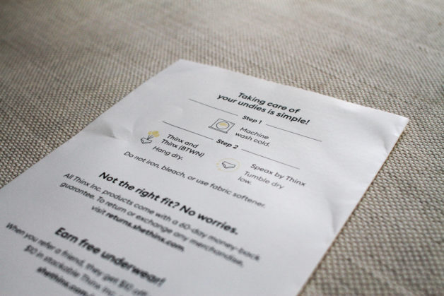 A card with Thinx care instructions printed on it.