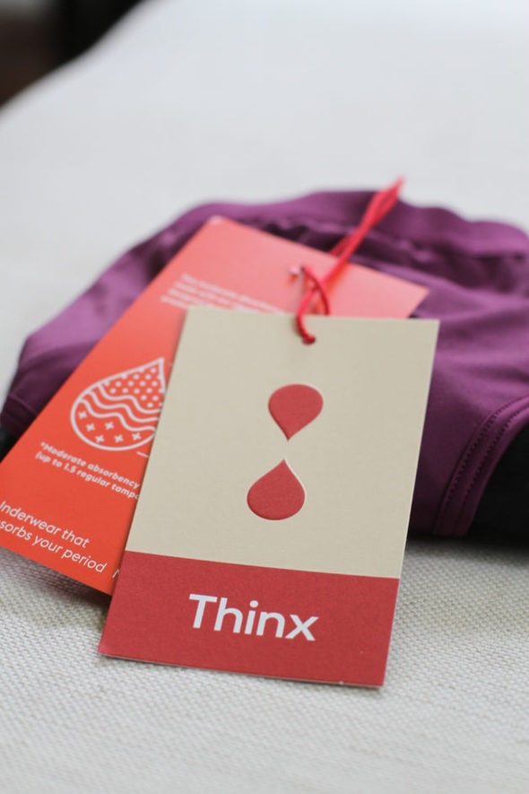 Two Thinx period panties tags.