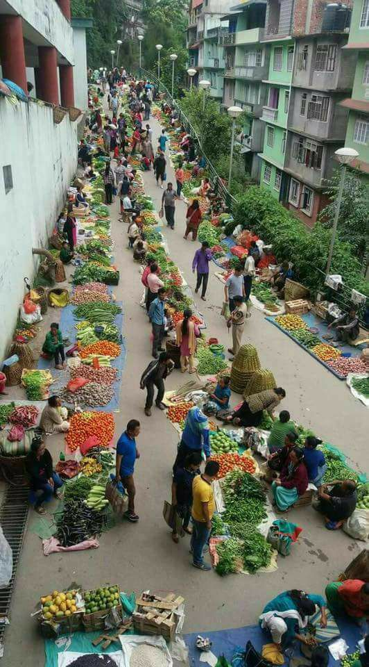 An Indian street market.