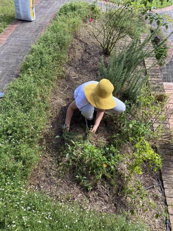 Emma in her garden.