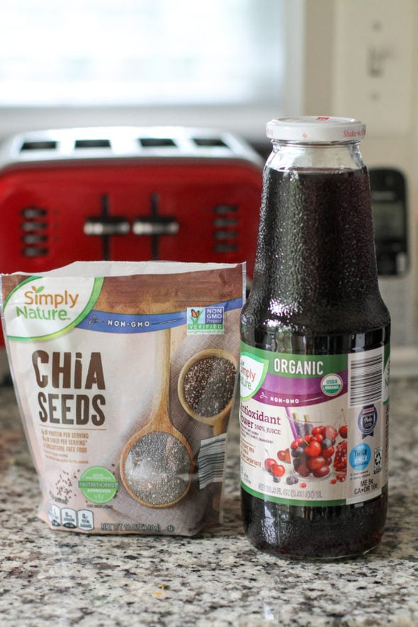 Chia seeds and antioxidant juice from Aldi.