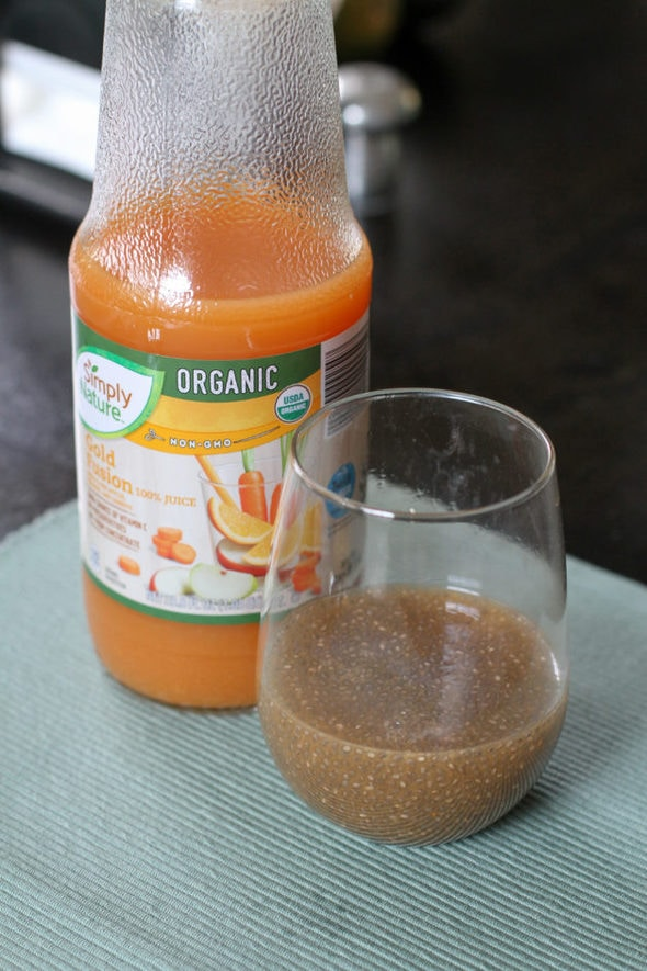 Orange homemade chia drink.