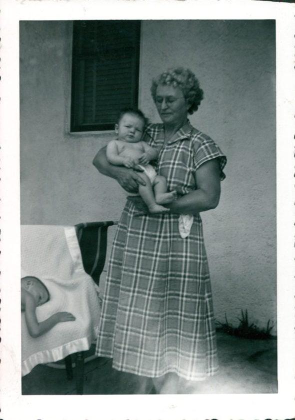 Kristen's great-grandma, holding a baby.