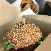Hot chicken sandwiche in a box.