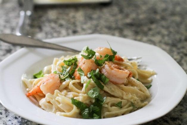 Fettucine alfredo with shrimp.