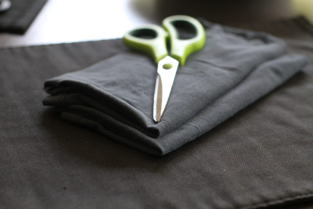 Two navy blue t-shirt rags.