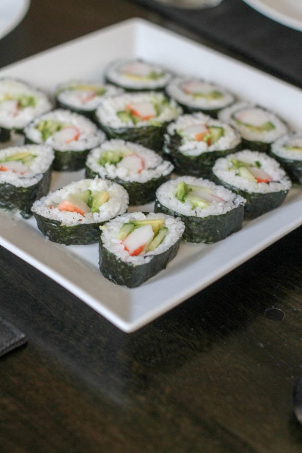 Sushi on a square plate.
