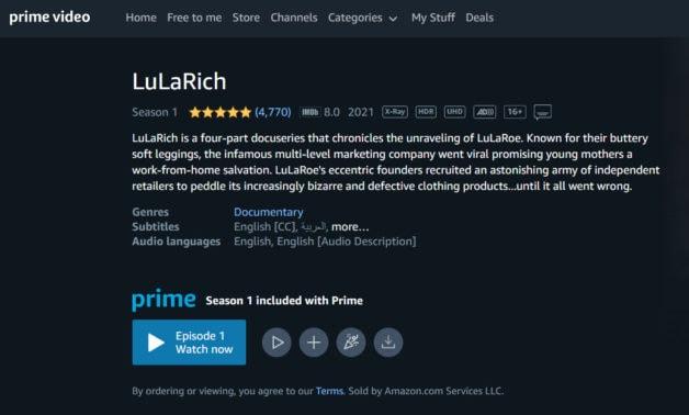 LuLaRich homepage on Amazon.