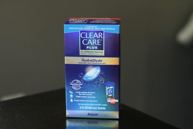 A sample box of Clear Care contact solution.