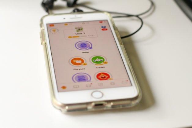 A phone displaying the Duolingo Spanish home screen.