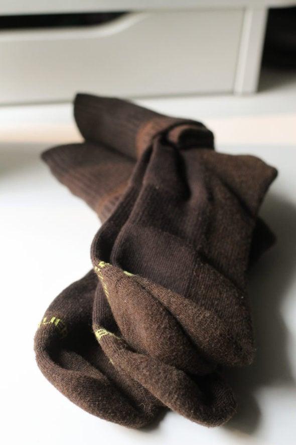 two pairs of brown Eddie Bauer socks.
