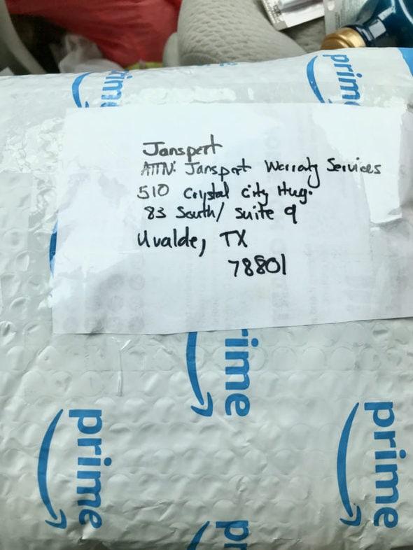 A padded envelope addressed to Jansport.